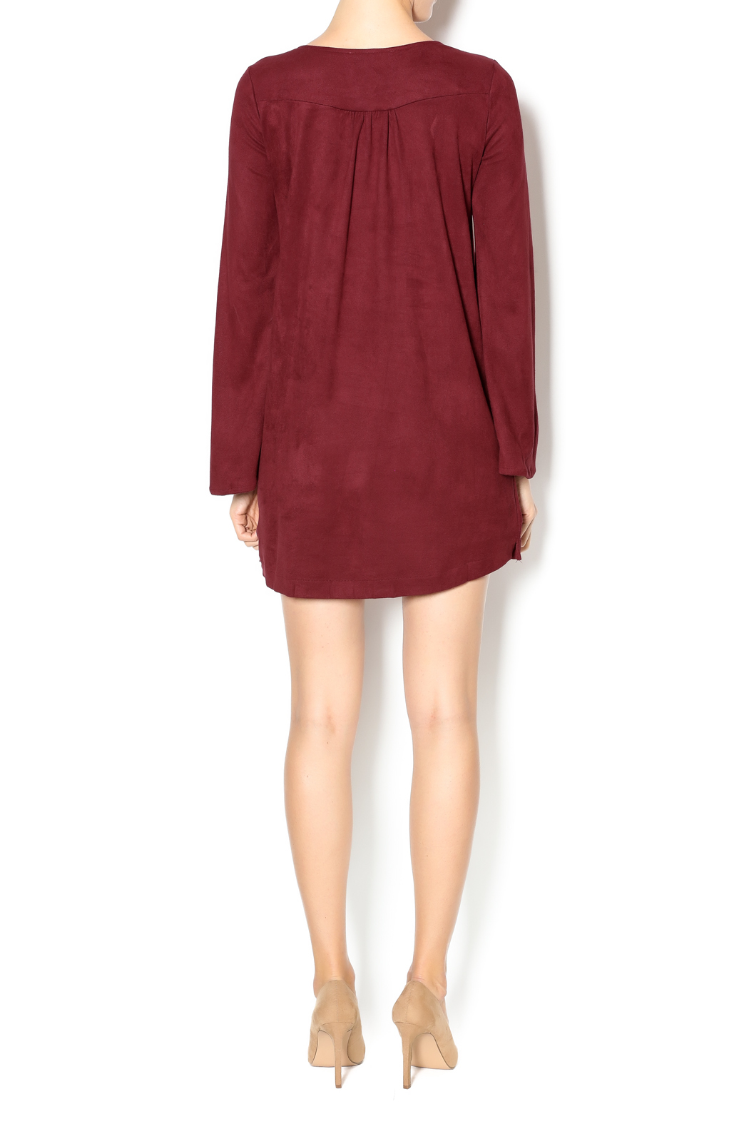 Olivaceous Faux Suede Lace-Up Dress - Side Cropped Image