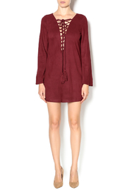 Olivaceous Faux Suede Lace-Up Dress - Front full body