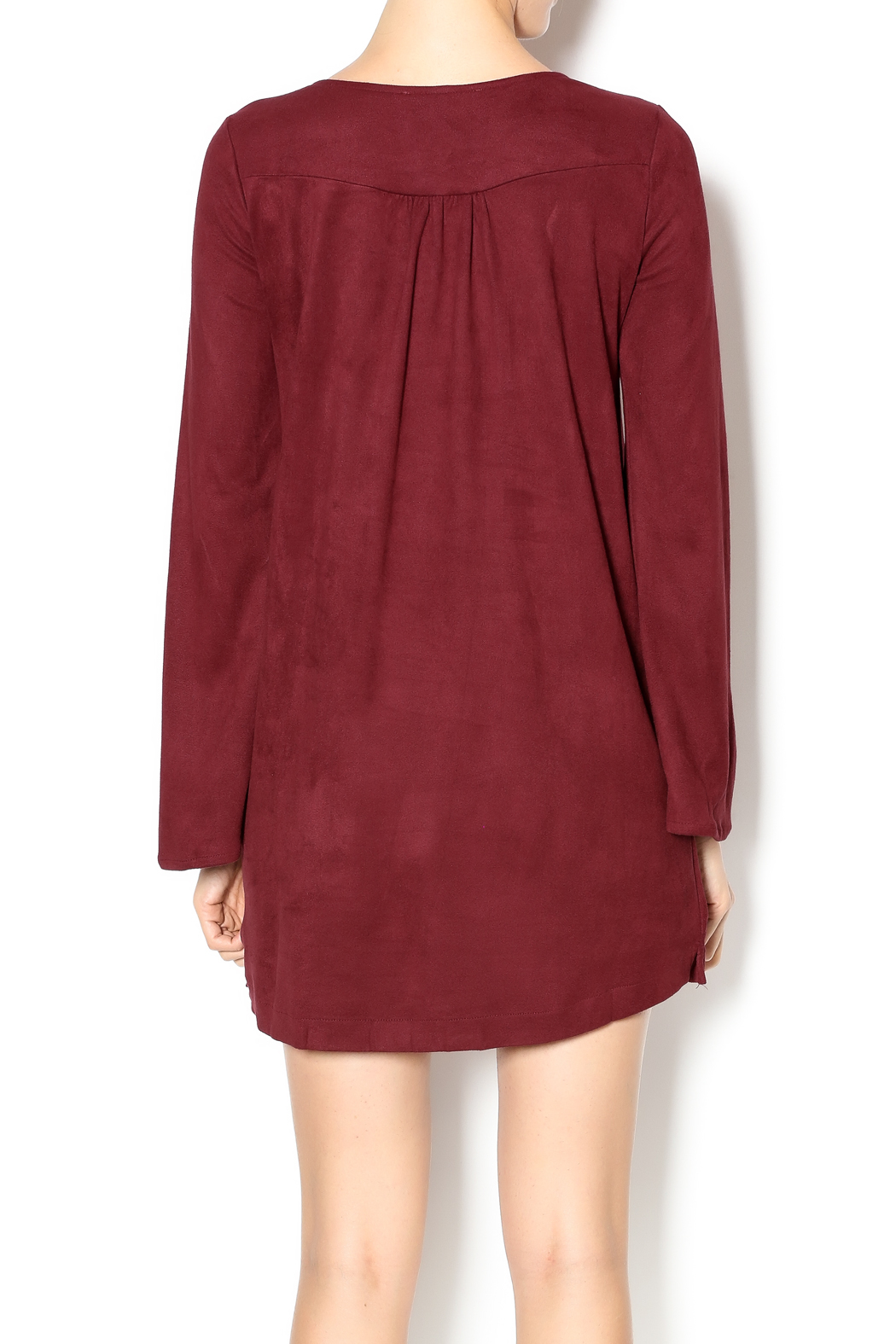 Olivaceous Faux Suede Lace-Up Dress - Back Cropped Image