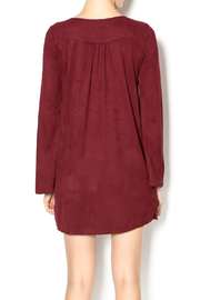 Olivaceous Faux Suede Lace-Up Dress - Back cropped
