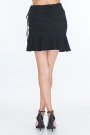 Olivaceous Faux Suede Ruched-Miniskirt - Front cropped