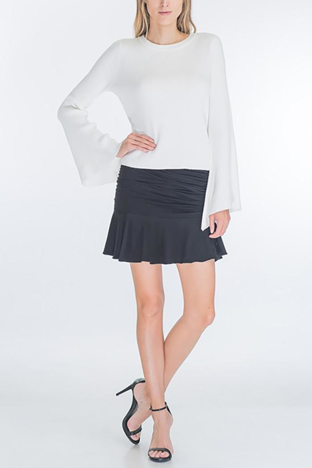 Olivaceous Faux Suede Ruched-Miniskirt - Back Cropped Image