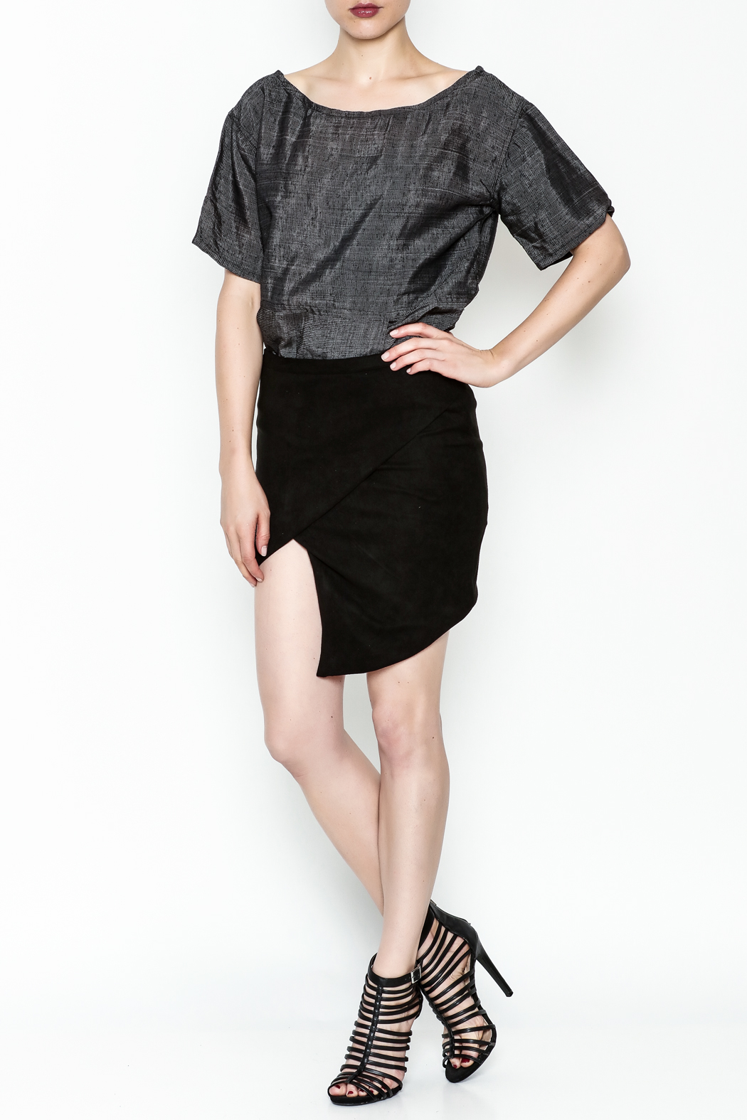 Olivaceous Faux Suede Skirt - Side Cropped Image