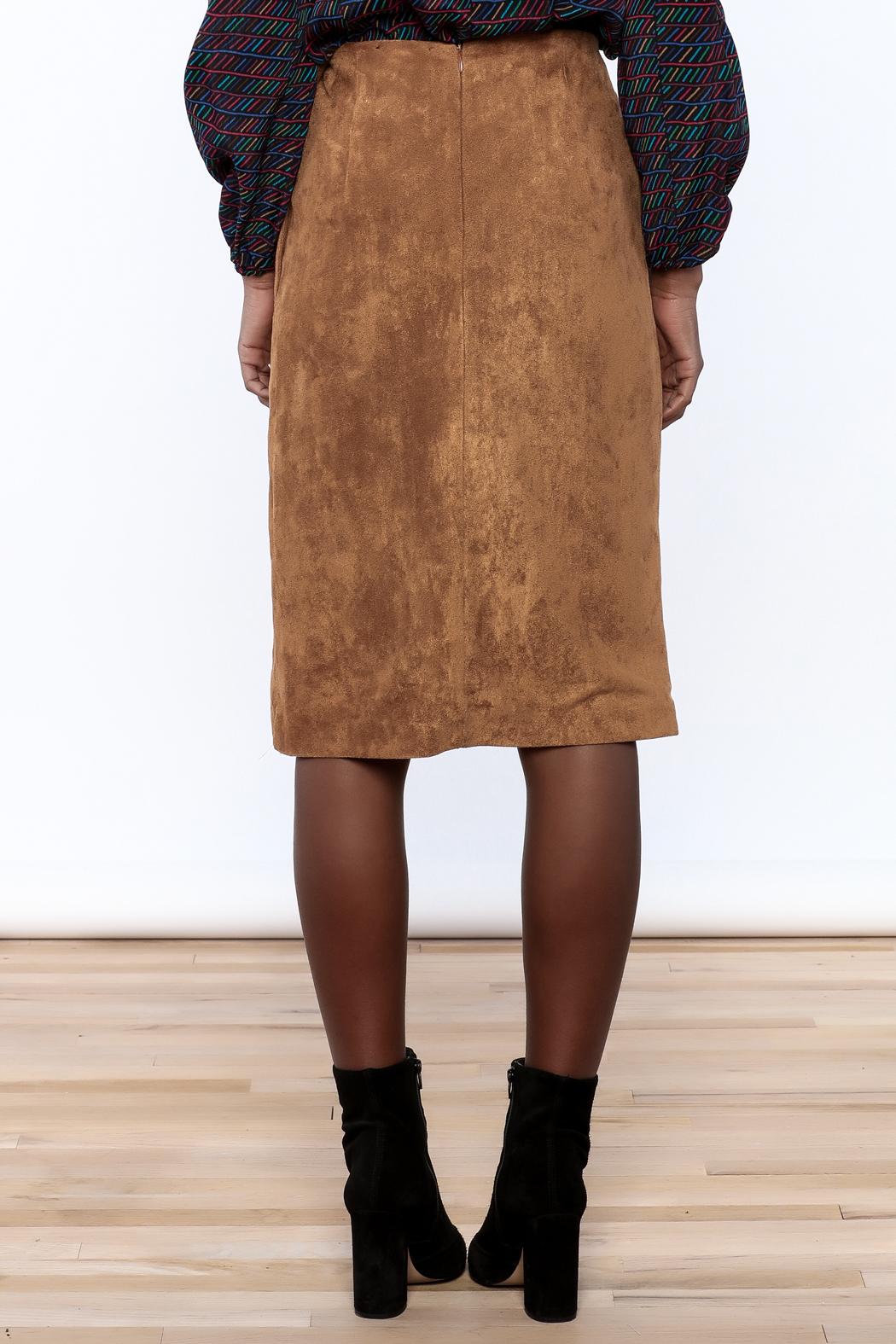 Olivaceous Faux Suede Skirt - Back Cropped Image