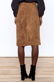 Olivaceous Faux Suede Skirt - Back cropped
