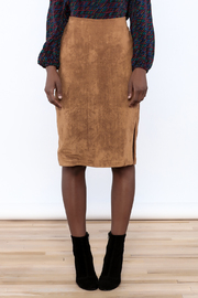 Olivaceous Faux Suede Skirt - Side cropped