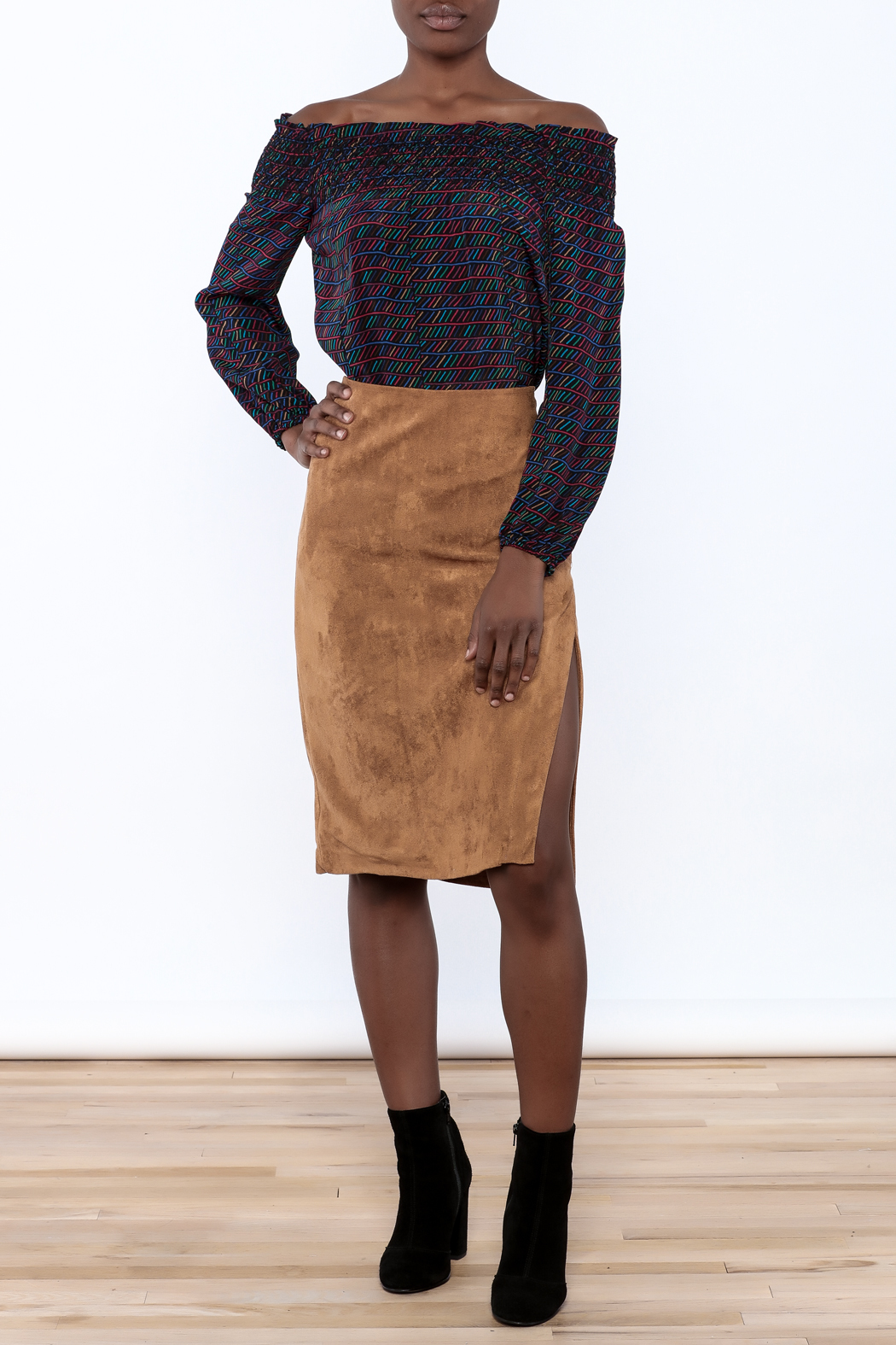 Olivaceous Faux Suede Skirt - Front Full Image