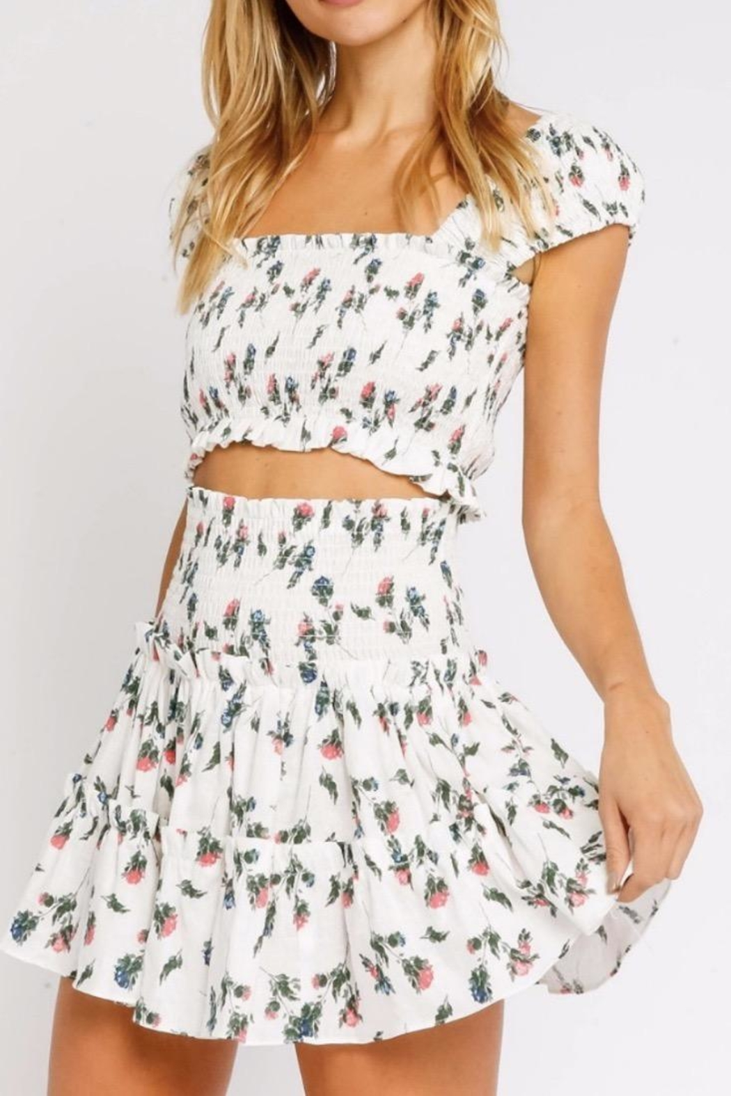 Olivaceous Flirty Floral Crop - Front Cropped Image