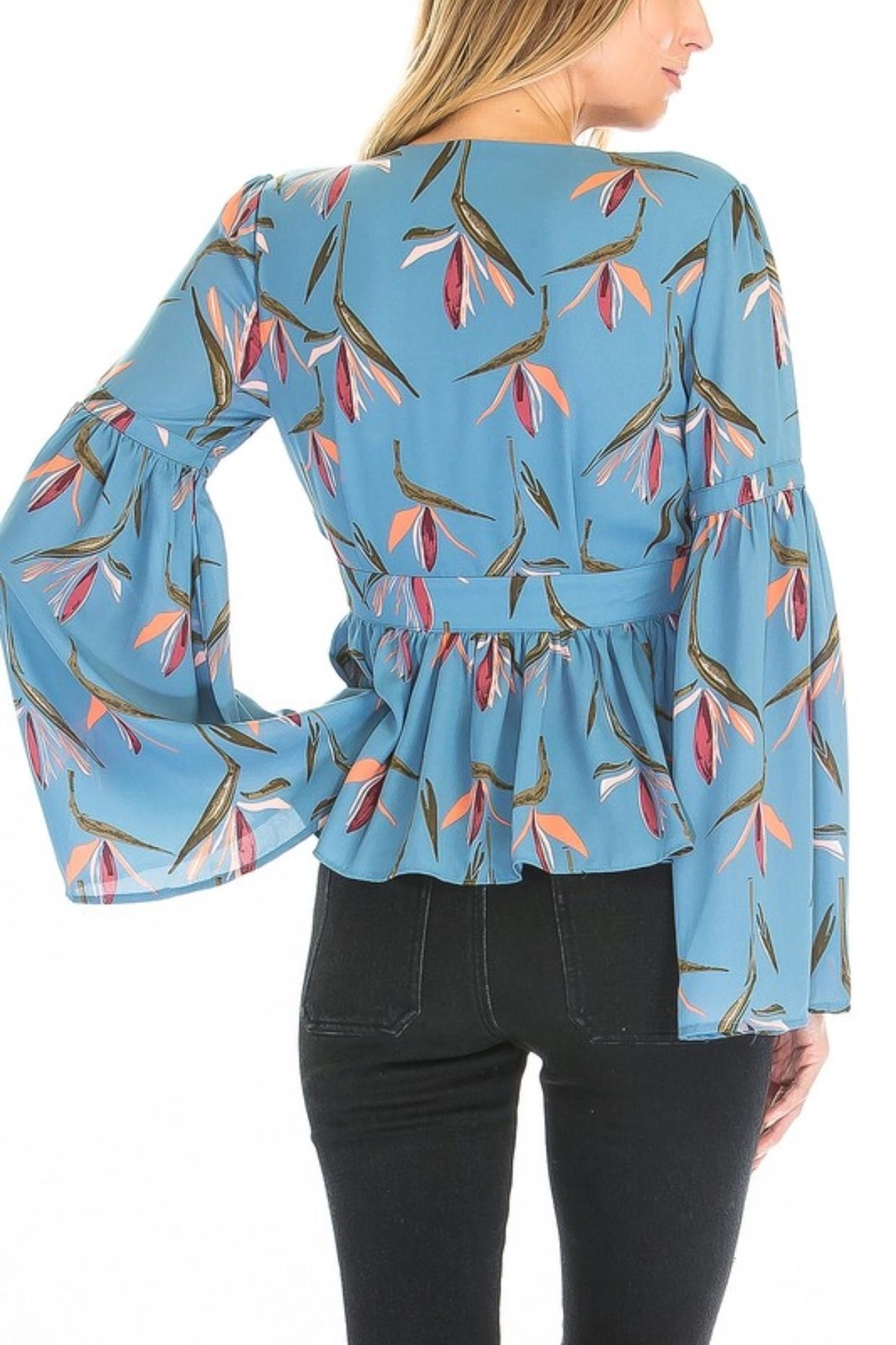 Olivaceous Floral Bell Sleeve - Front Full Image