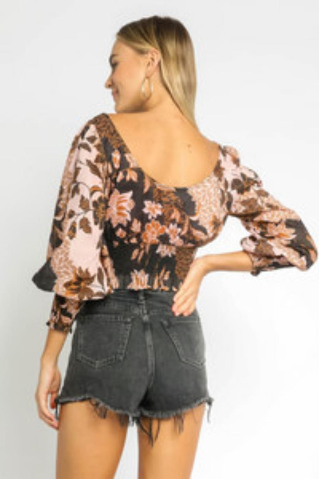 Olivaceous Floral Crop Top - Front Full Image