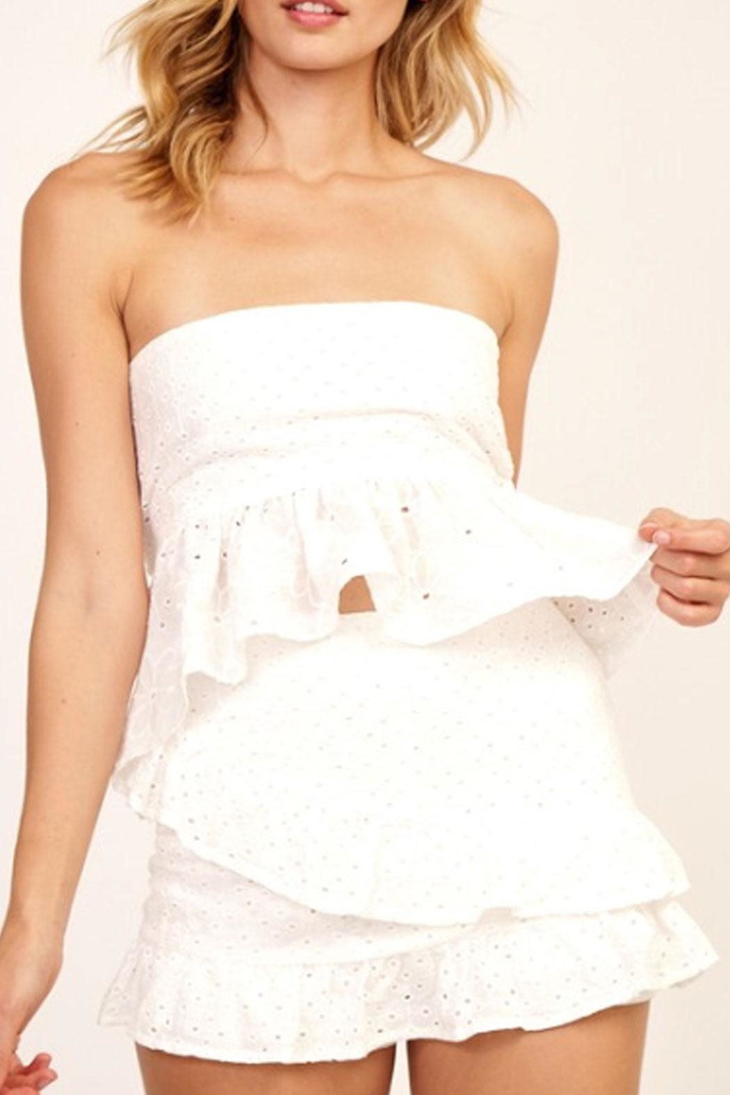Olivaceous Floral Eyelet Tube-Top - Main Image