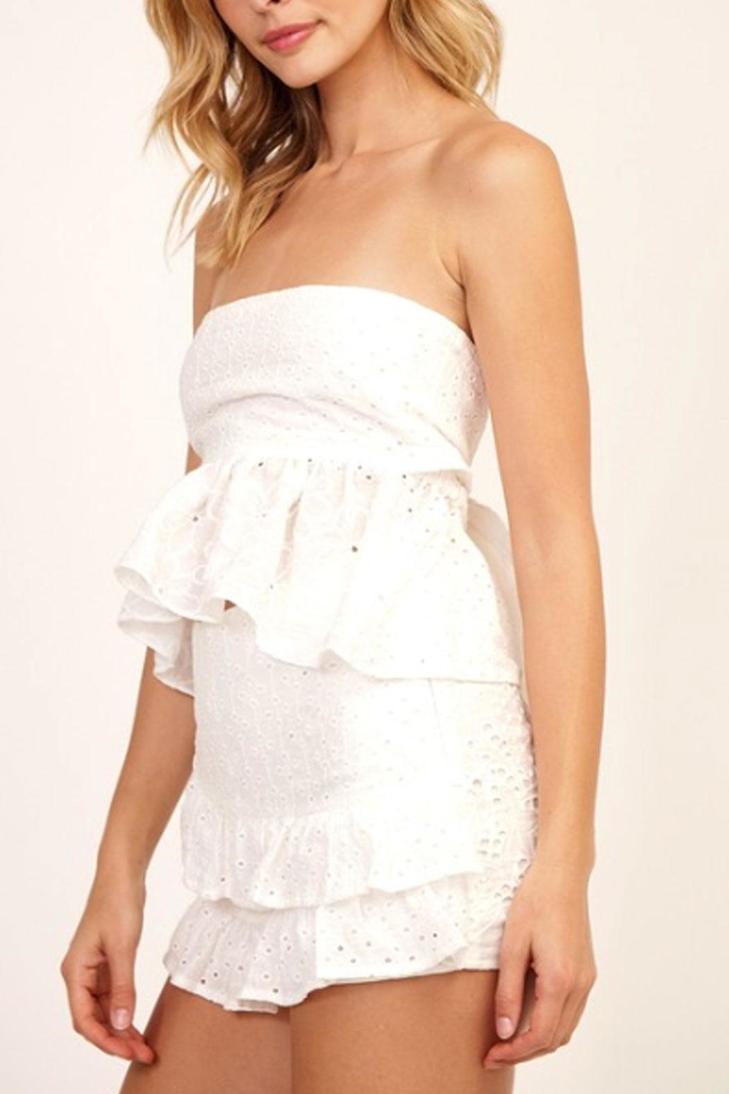 Olivaceous Floral Eyelet Tube-Top - Side Cropped Image