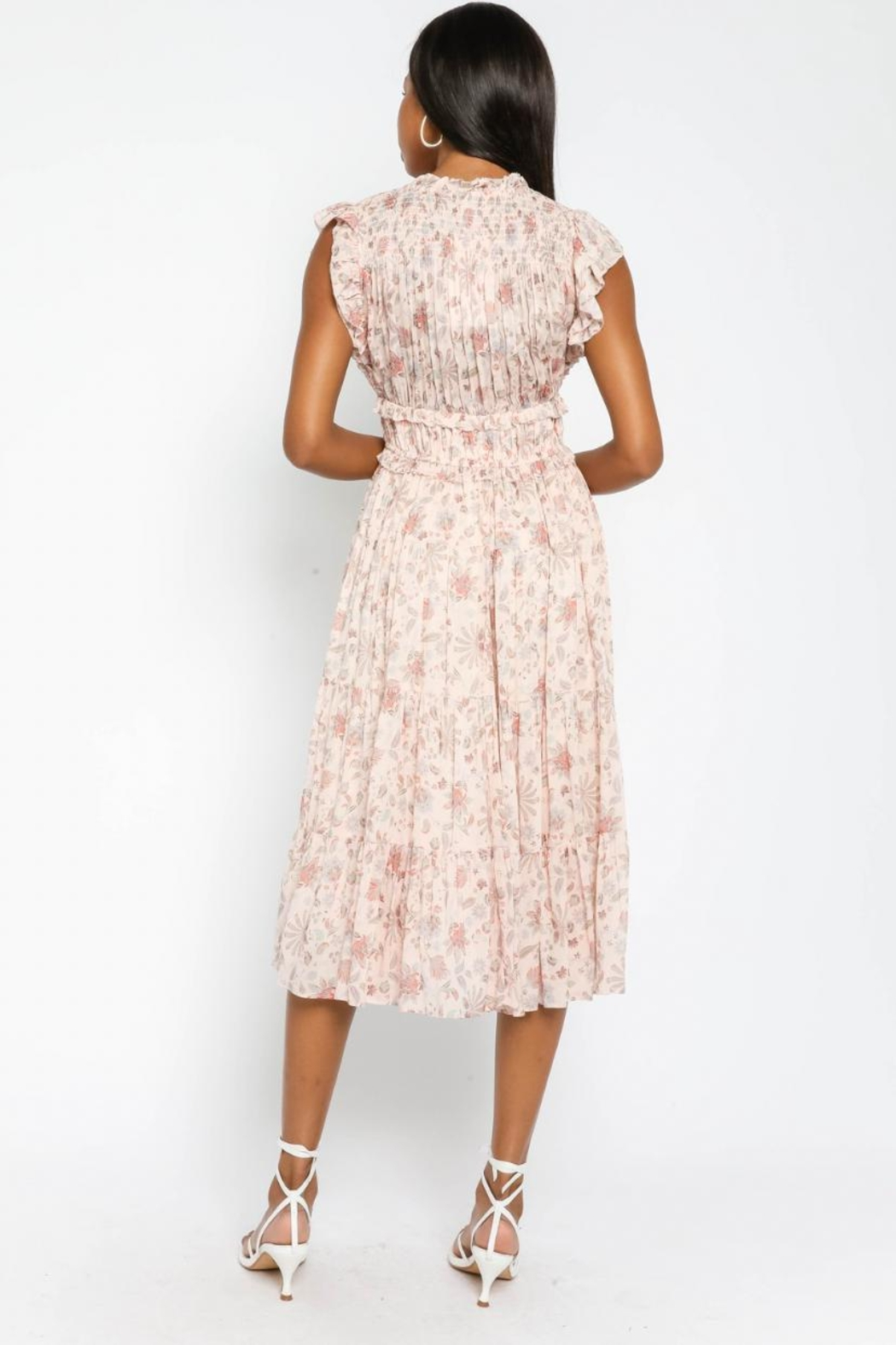 Olivaceous Floral Ruffled Midi - Side Cropped Image