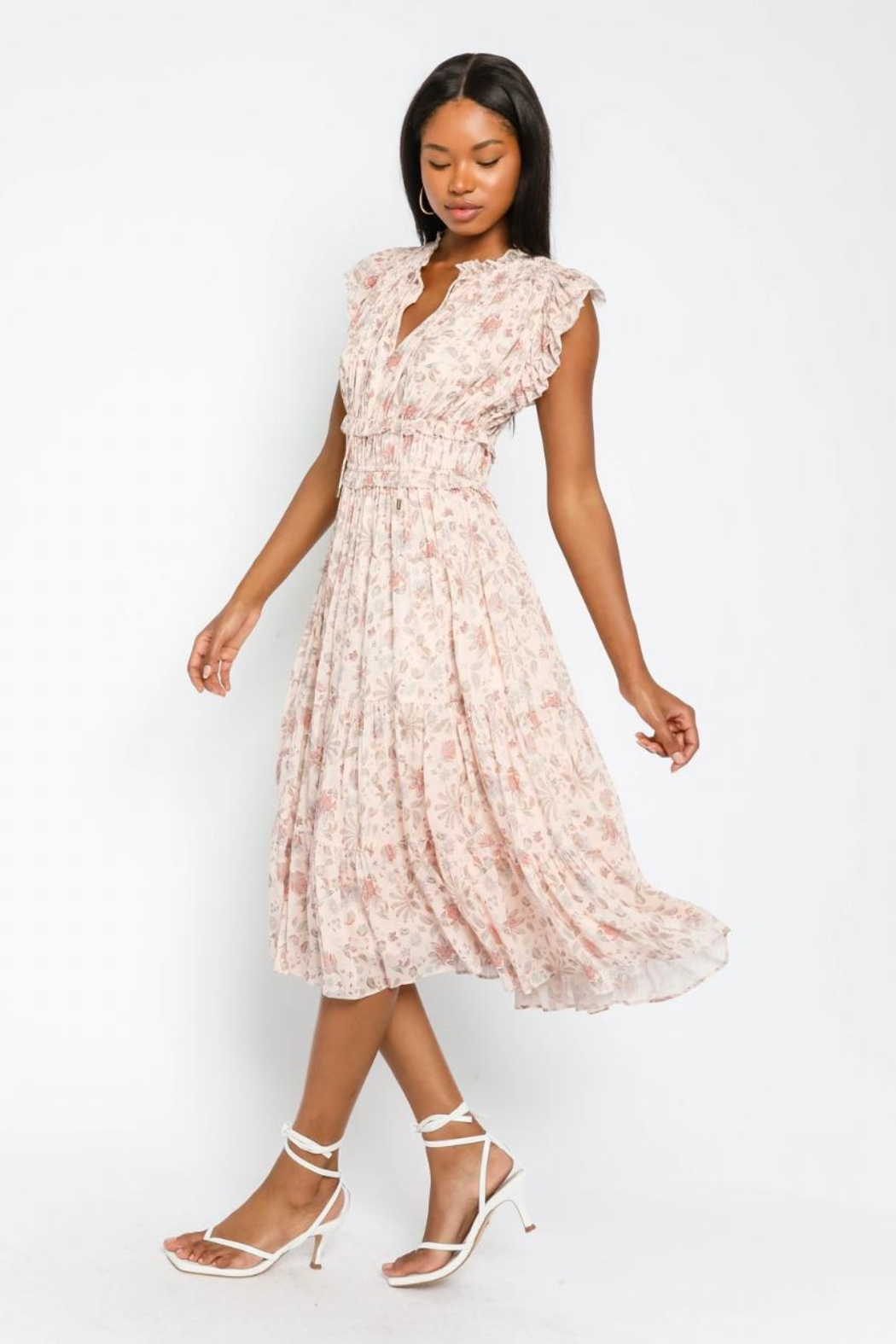 Olivaceous Floral Ruffled Midi - Front Full Image