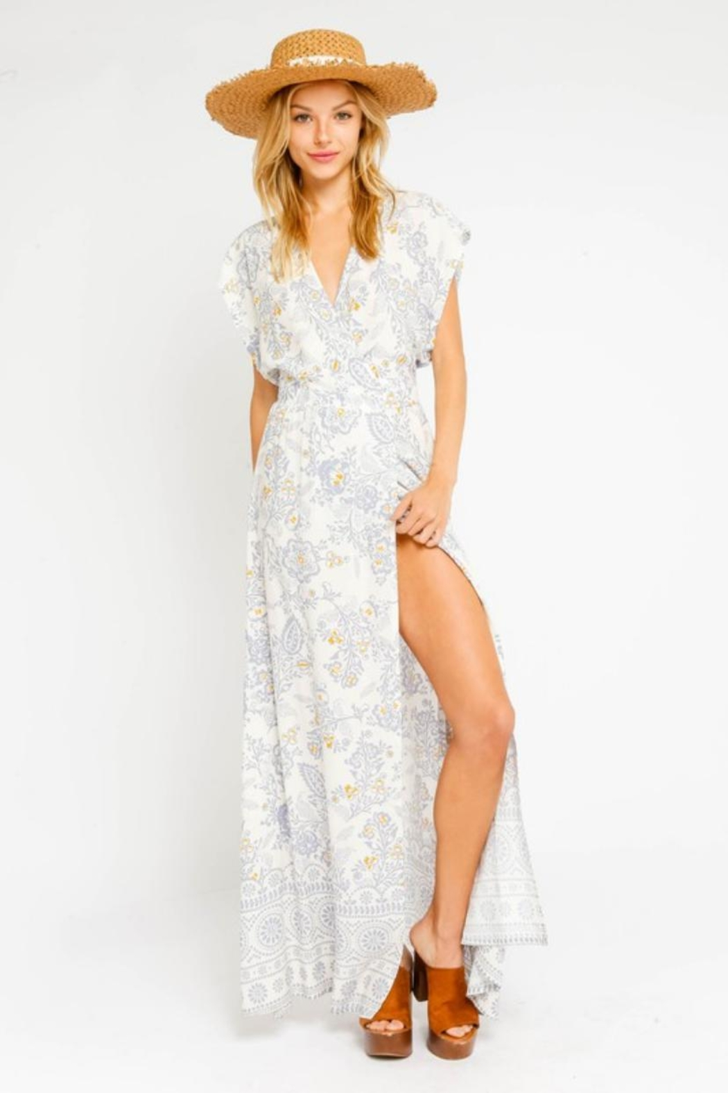 Olivaceous Floral Wrap Dress - Front Cropped Image