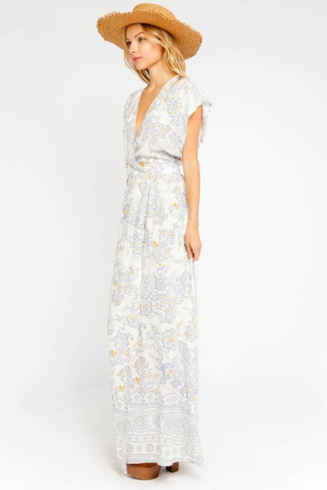 Olivaceous Floral Wrap Dress - Front Full Image