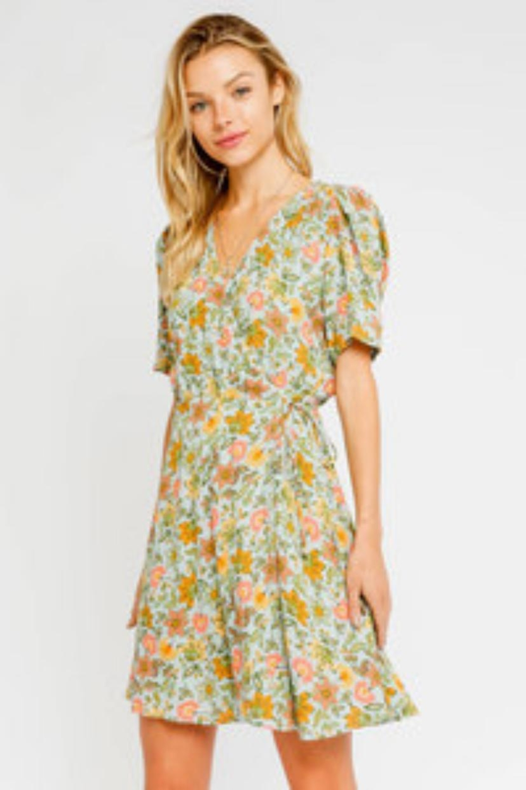 Olivaceous Floral Wrap Dress - Main Image