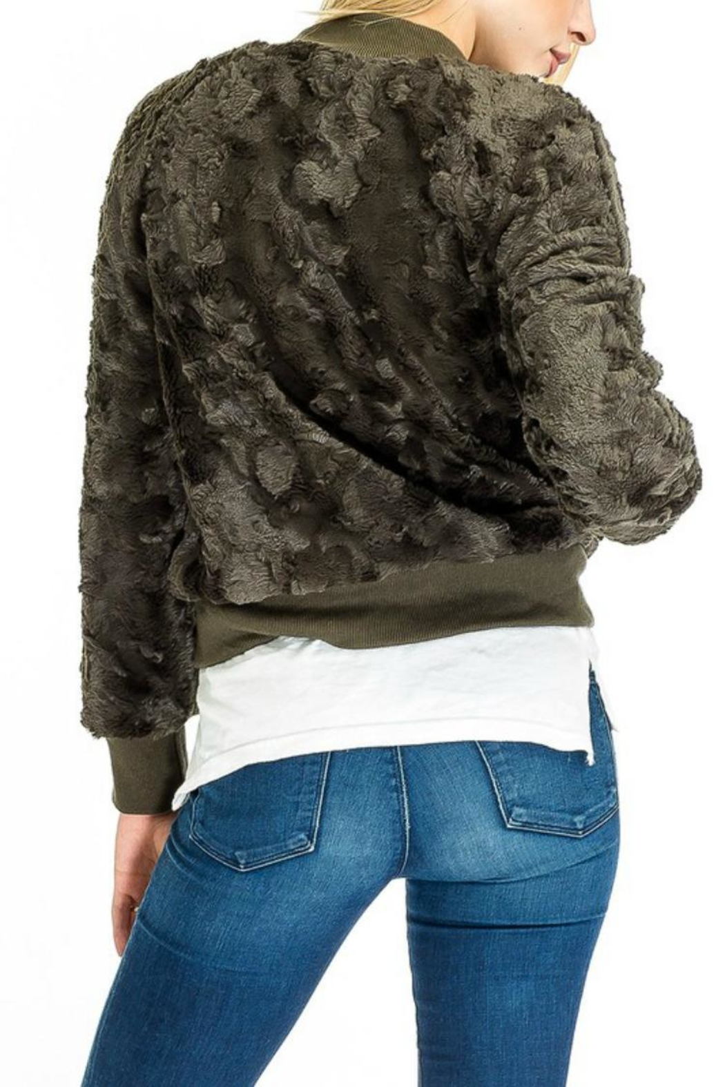 Olivaceous Furry Olive Bomber - Front Full Image