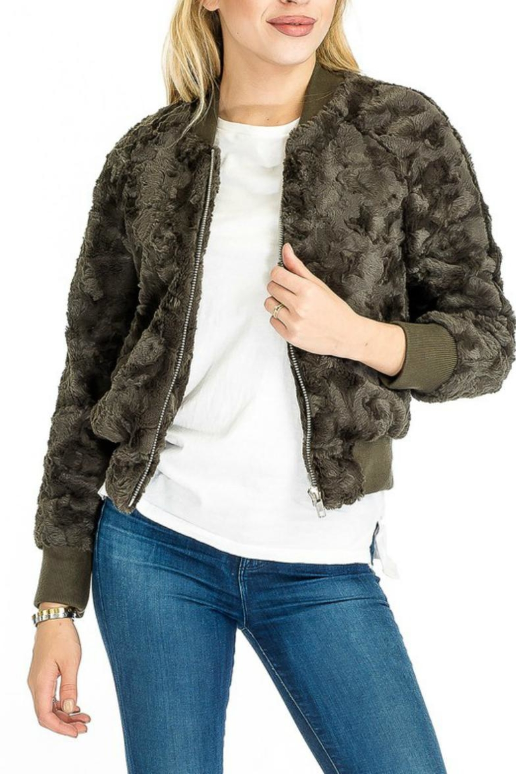 Olivaceous Furry Olive Bomber - Main Image