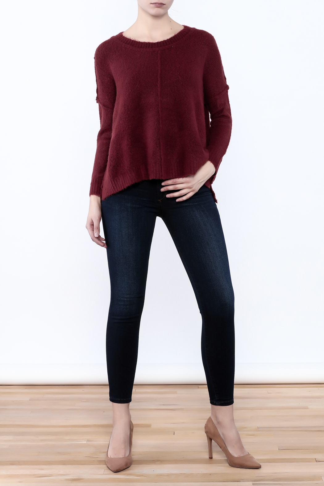 Olivaceous Fuzzy Boxy Sweater - Front Full Image