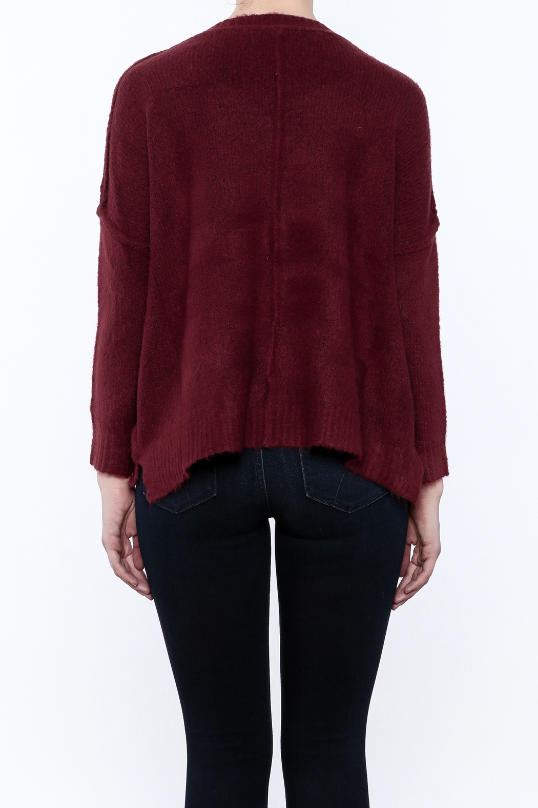 Olivaceous Fuzzy Boxy Sweater - Back Cropped Image