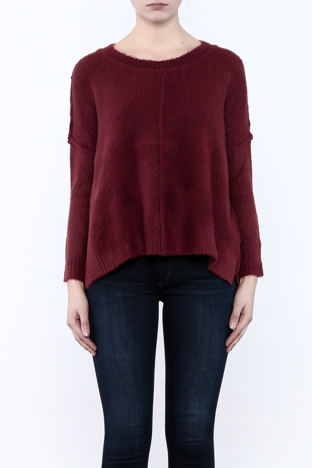 Olivaceous Fuzzy Boxy Sweater - Side Cropped Image