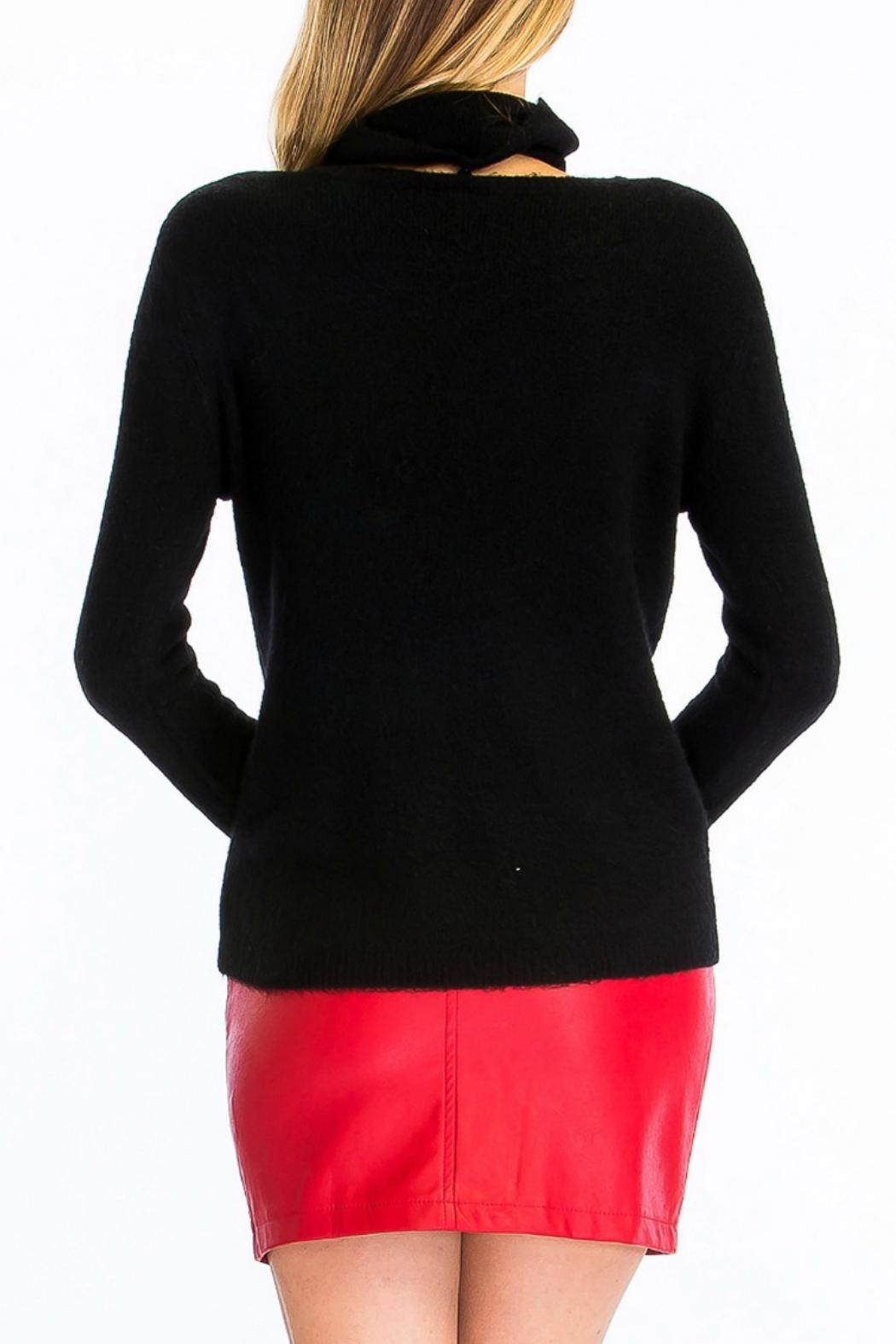Olivaceous Fuzzy Choker Sweater - Side Cropped Image