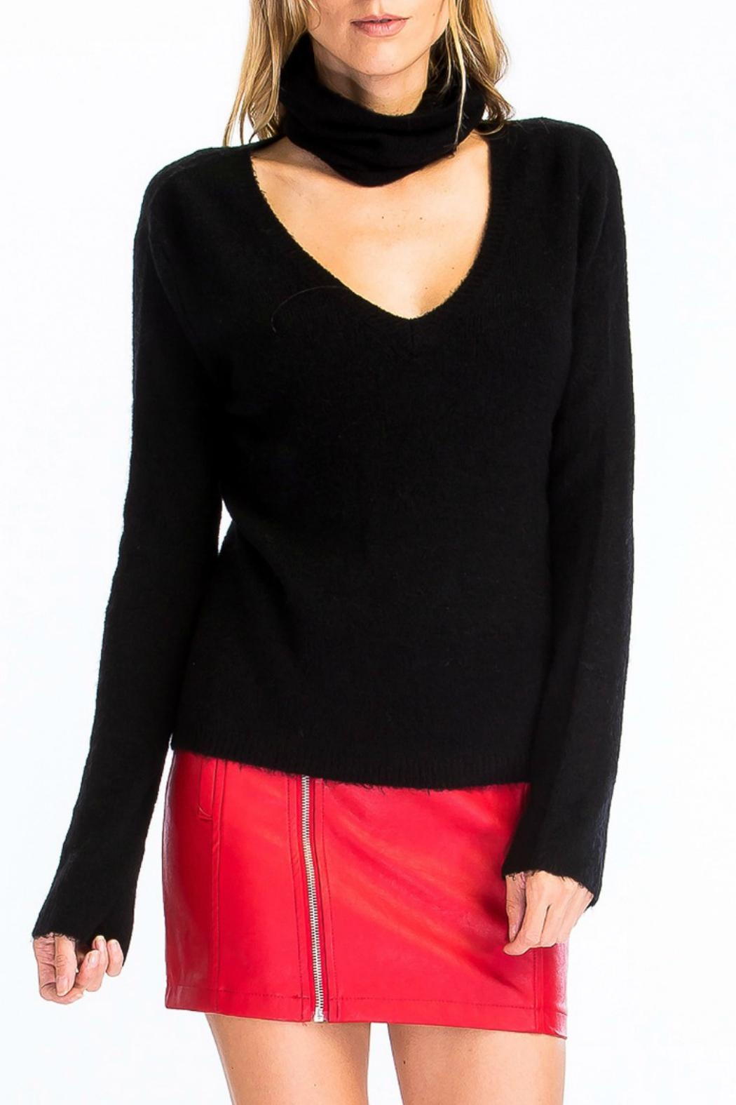 Olivaceous Fuzzy Choker Sweater - Main Image
