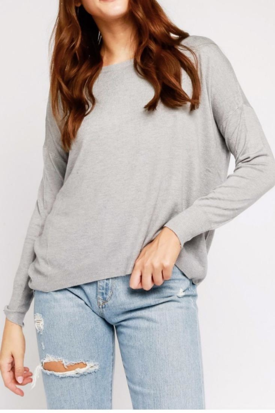 Olivaceous Grey Back-Zipper Sweater - Main Image
