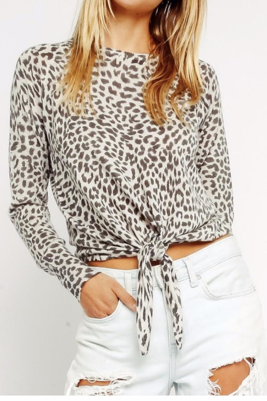 Olivaceous Grey Leopard Sweater - Main Image