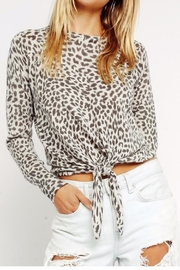 Olivaceous Grey Leopard Sweater - Front cropped