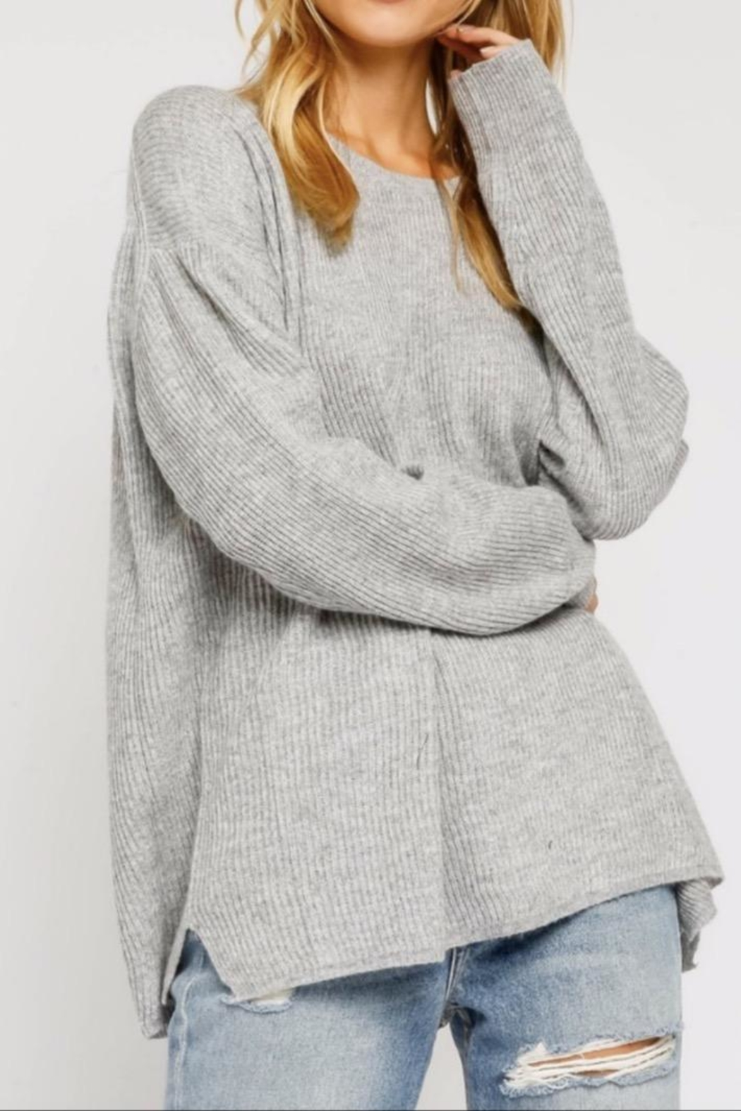 Olivaceous Grey Ribbed Sweater - Front Cropped Image