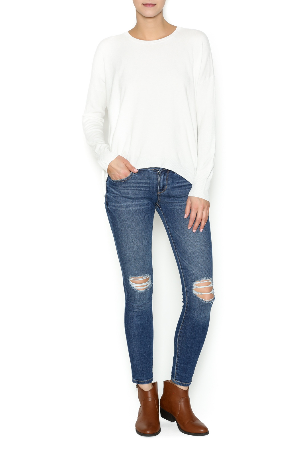 Olivaceous Ivory Soft Sweater - Front Full Image