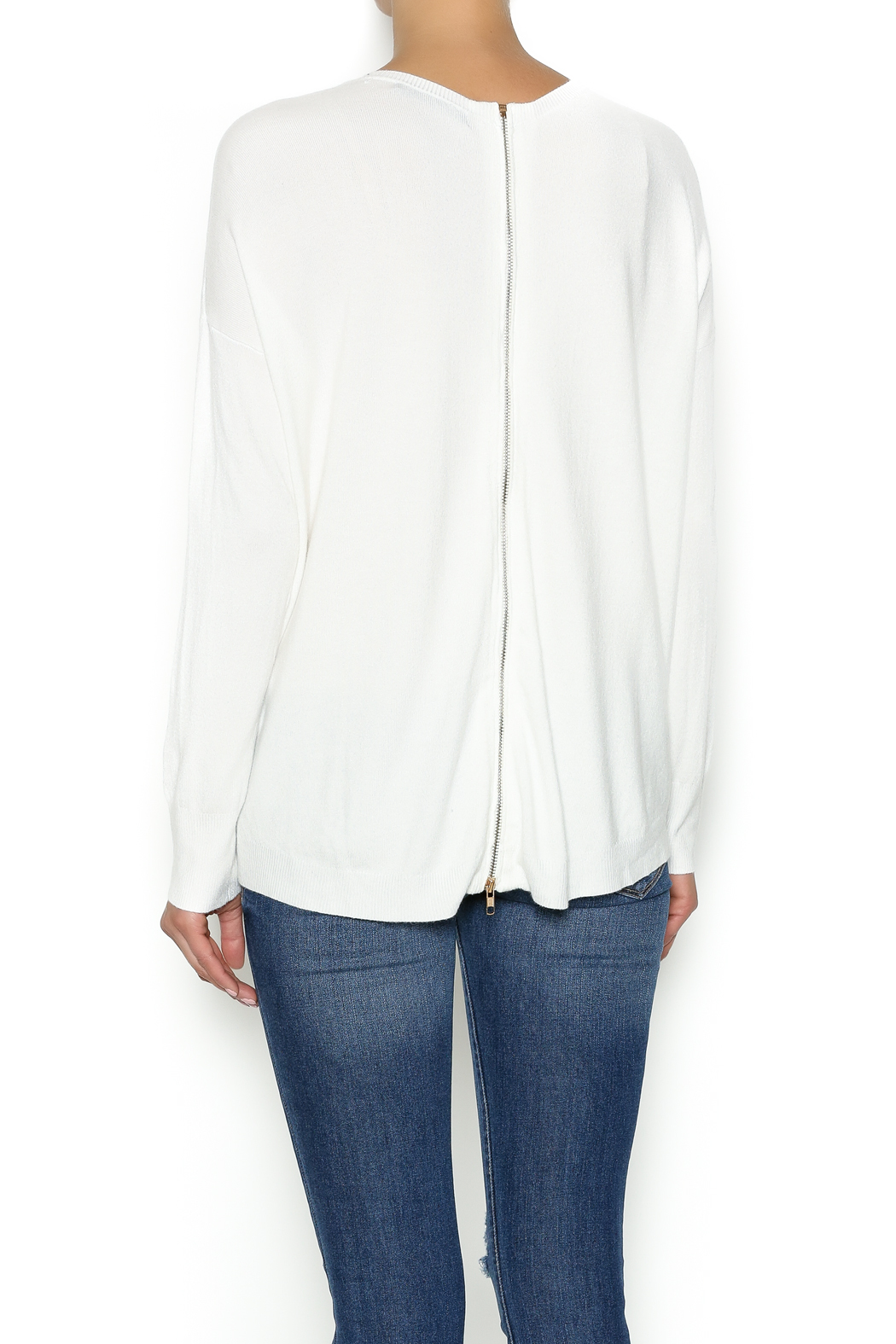 Olivaceous Ivory Soft Sweater - Back Cropped Image