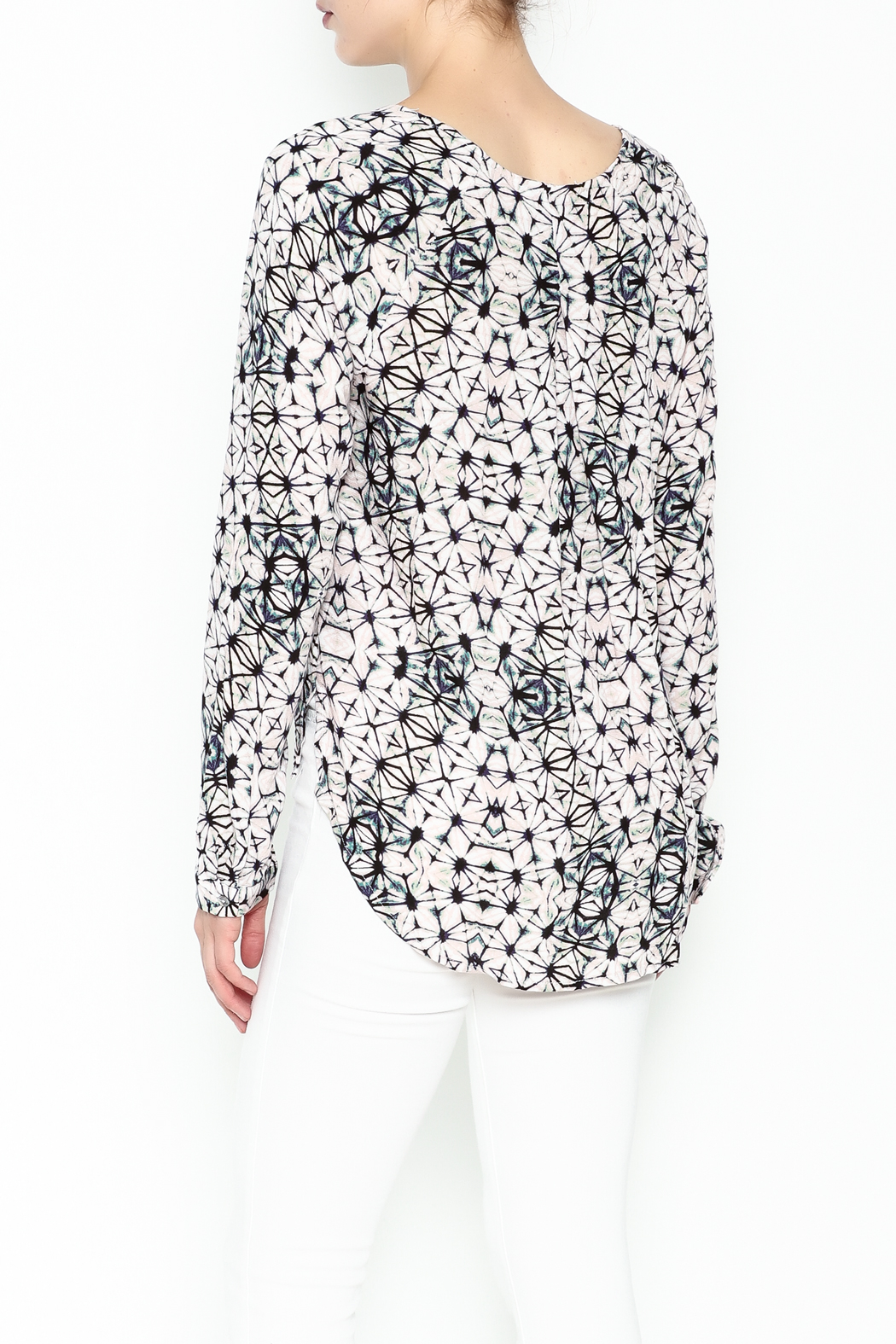 Olivaceous Kaleidoscope Print Blouse - Back Cropped Image