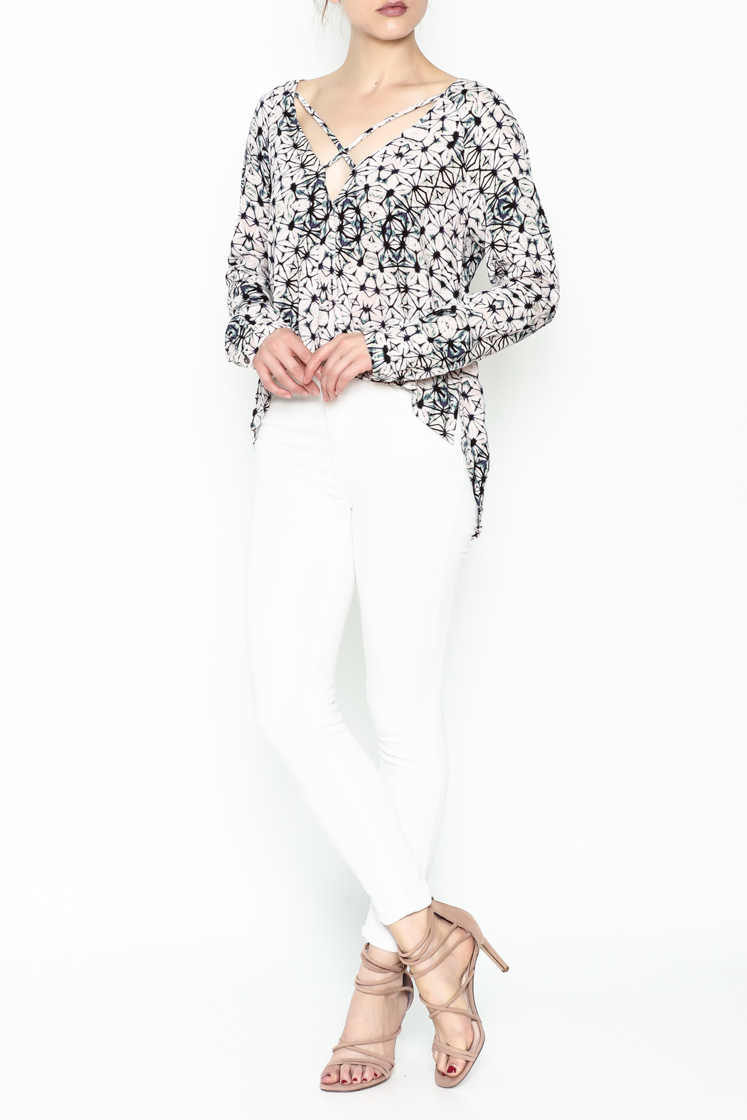 Olivaceous Kaleidoscope Print Blouse - Side Cropped Image