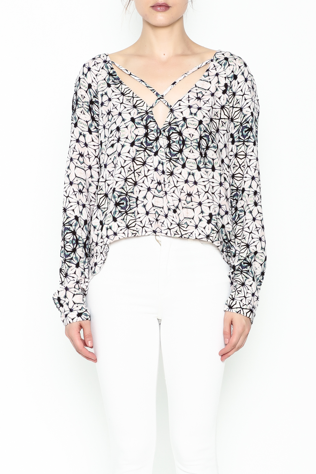 Olivaceous Kaleidoscope Print Blouse - Front Full Image