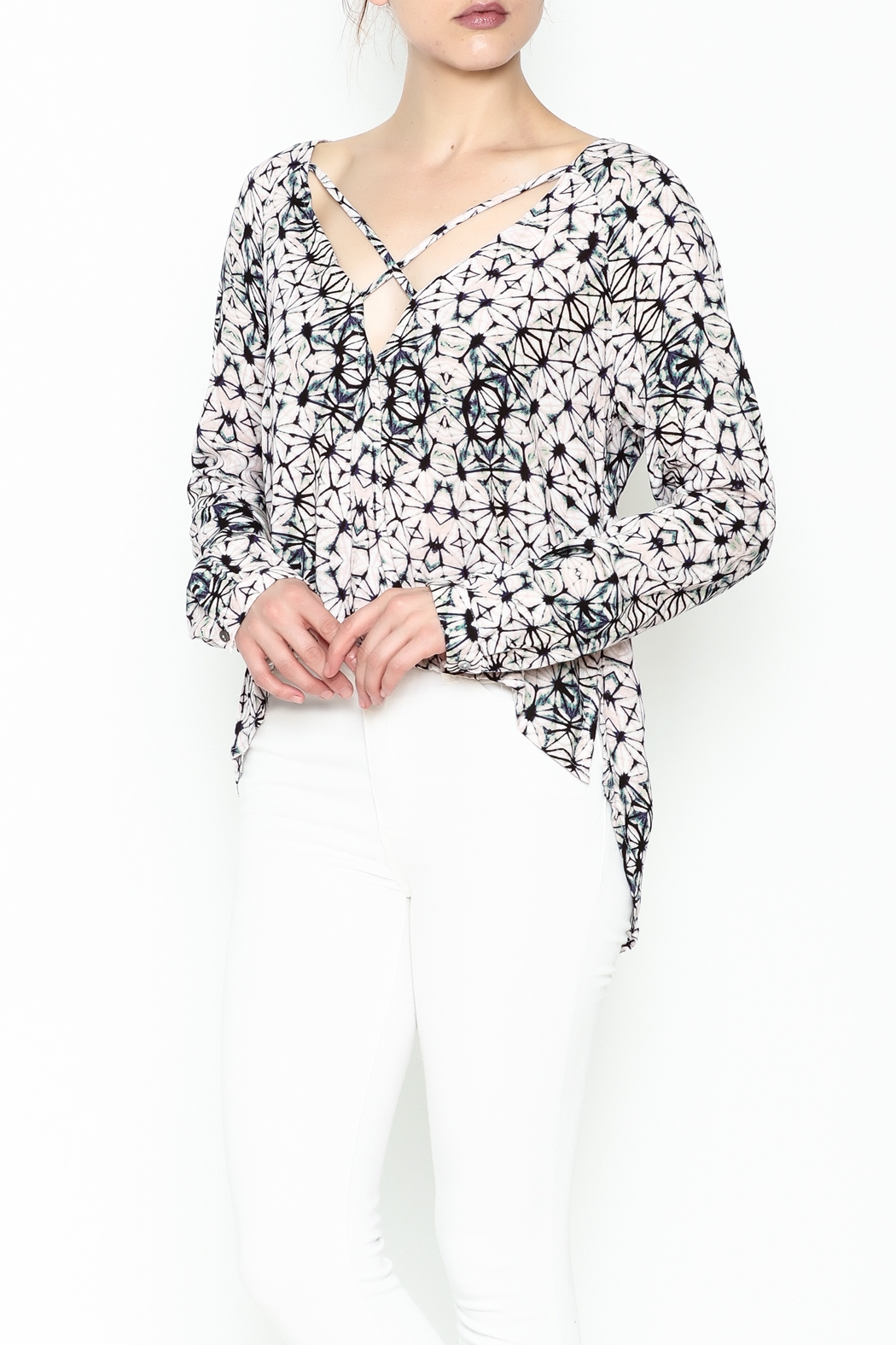 Olivaceous Kaleidoscope Print Blouse - Front Cropped Image