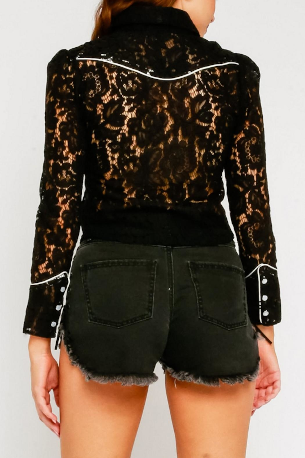 Olivaceous Lace Western Blouse - Front Full Image