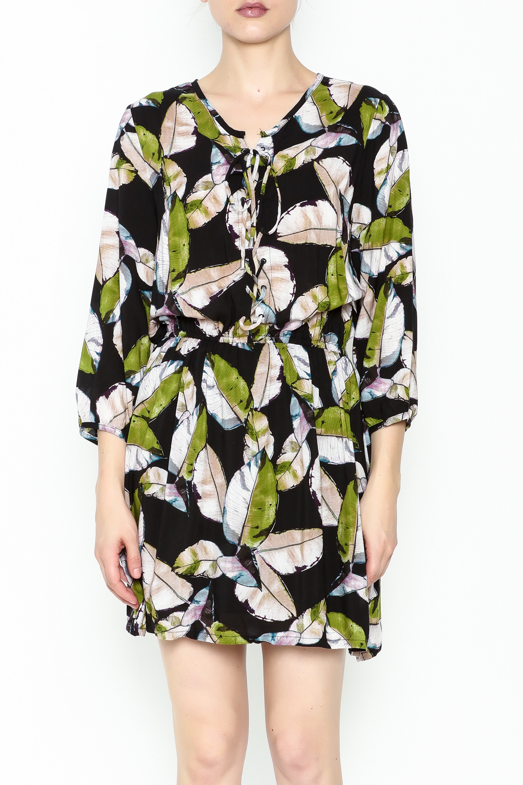 Olivaceous Leaf Print Dress - Front Full Image