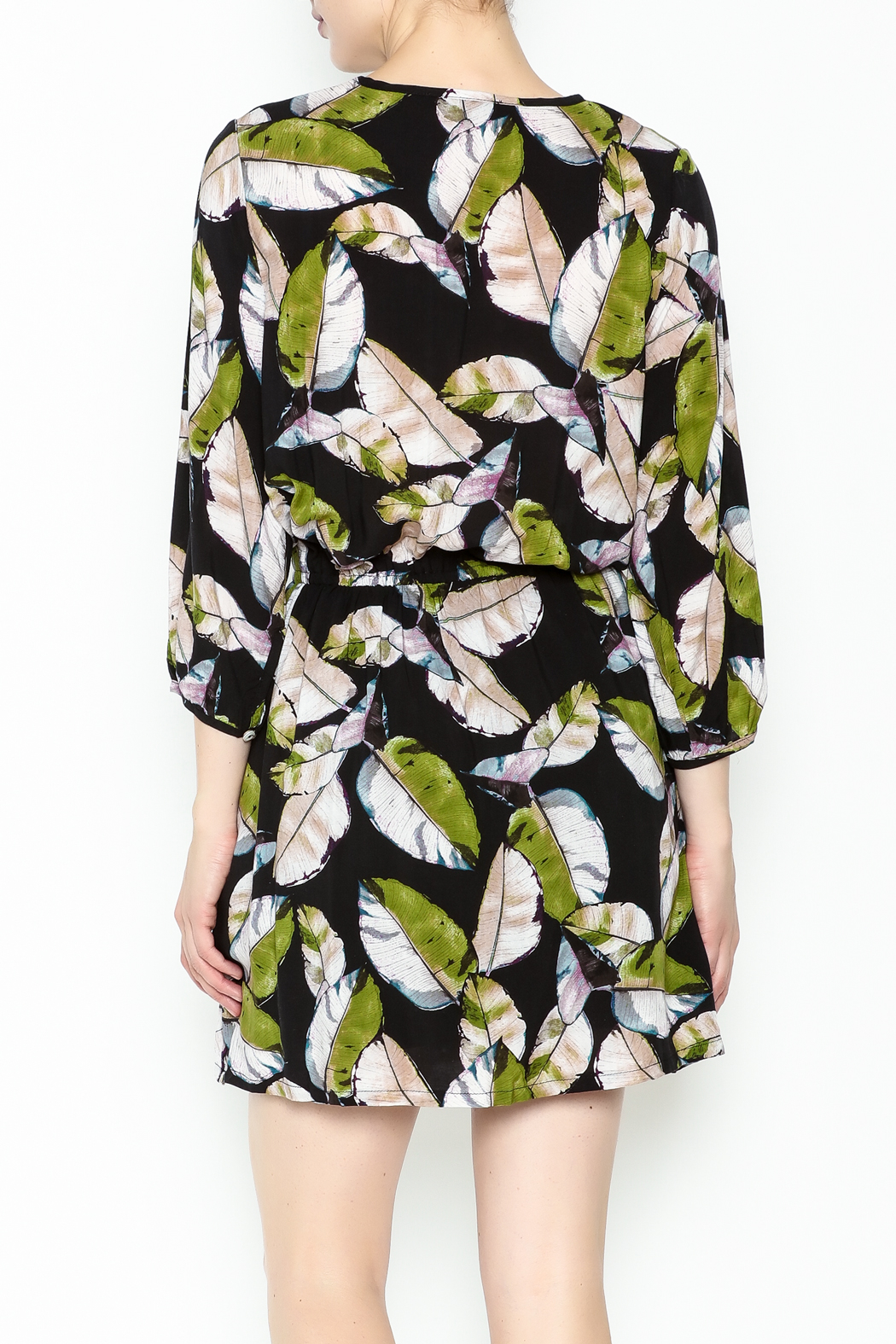 Olivaceous Leaf Print Dress - Back Cropped Image