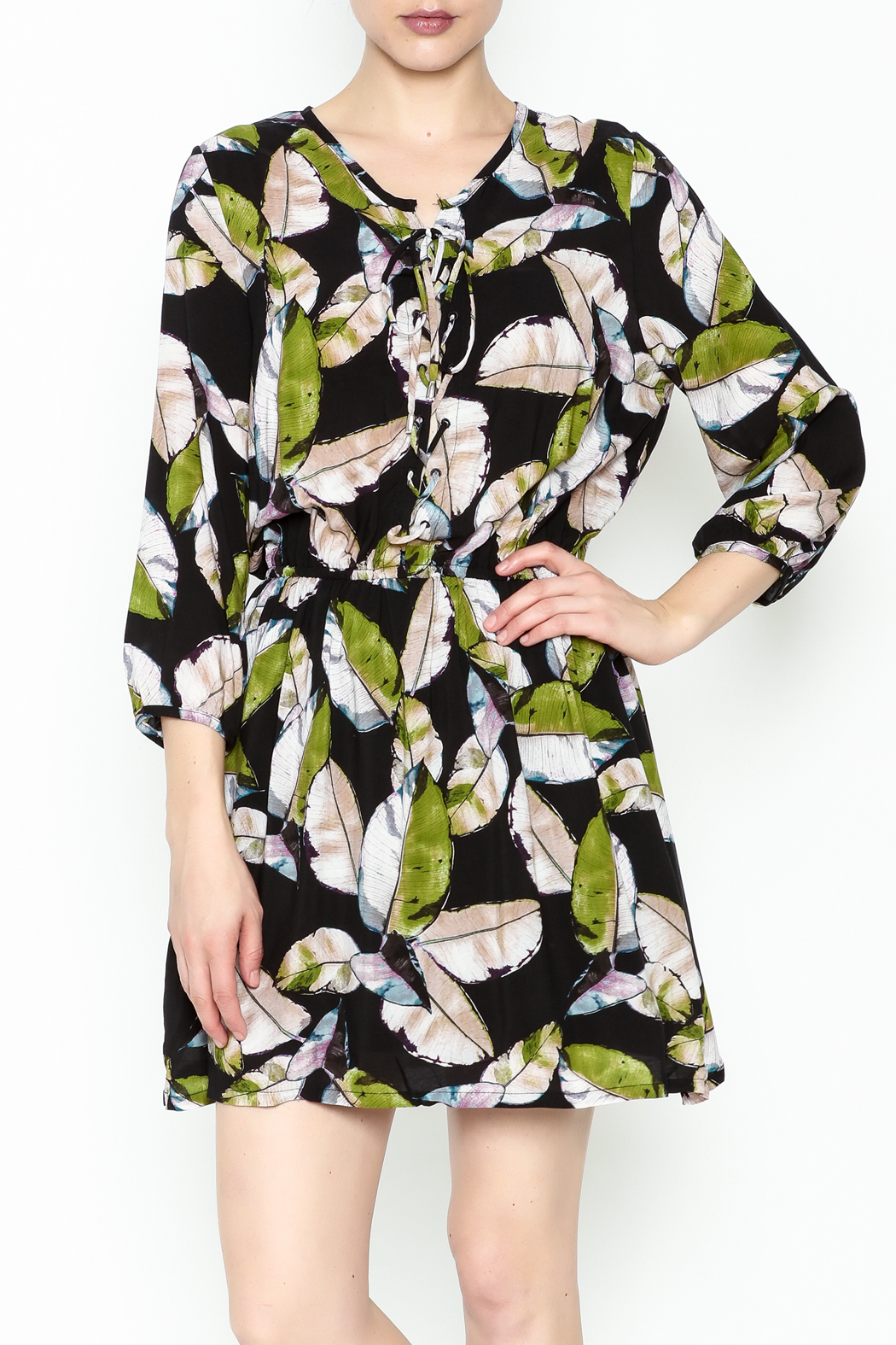 Olivaceous Leaf Print Dress - Main Image
