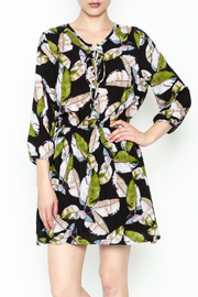 Olivaceous Leaf Print Dress - Front cropped