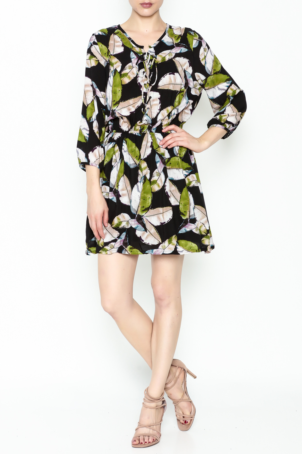 Olivaceous Leaf Print Dress - Side Cropped Image