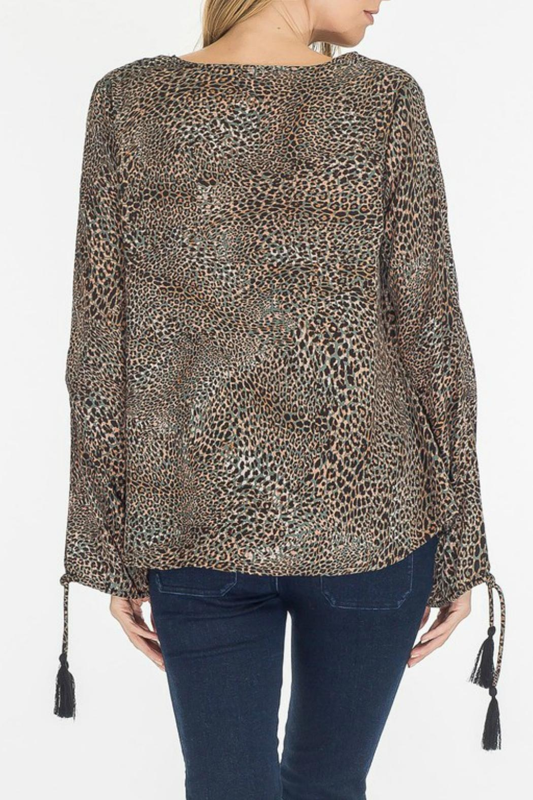 Olivaceous Leopard Keyhole Top - Side Cropped Image