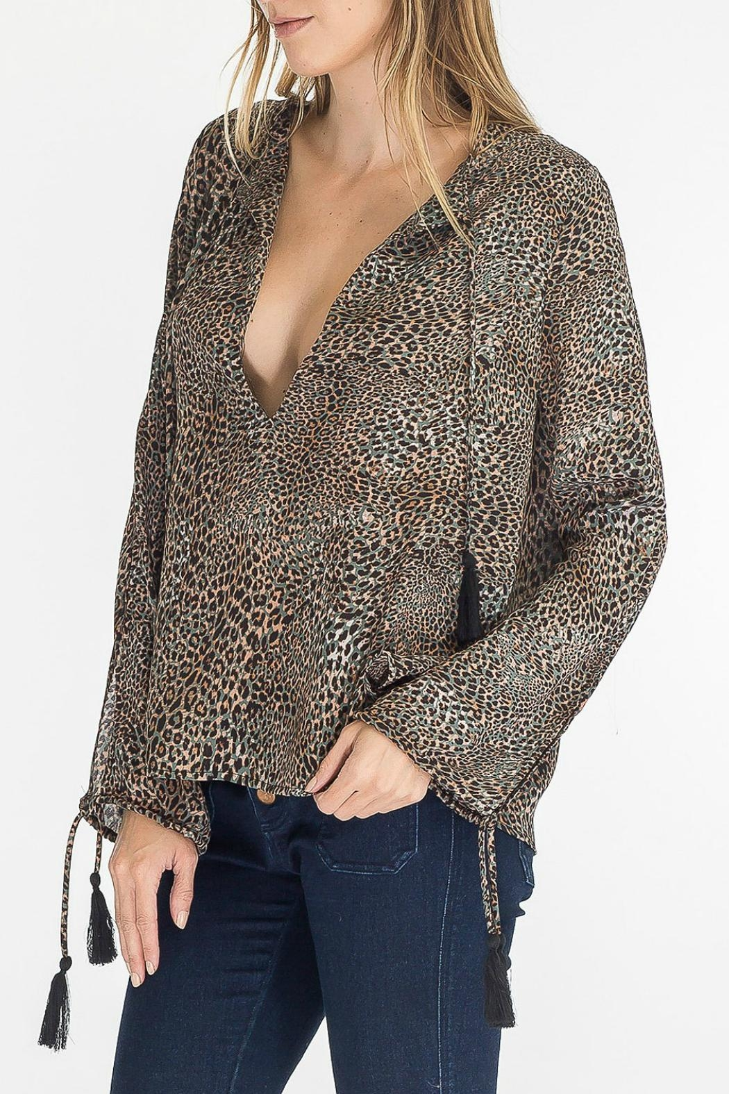 Olivaceous Leopard Keyhole Top - Front Full Image