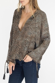Olivaceous Leopard Keyhole Top - Front full body