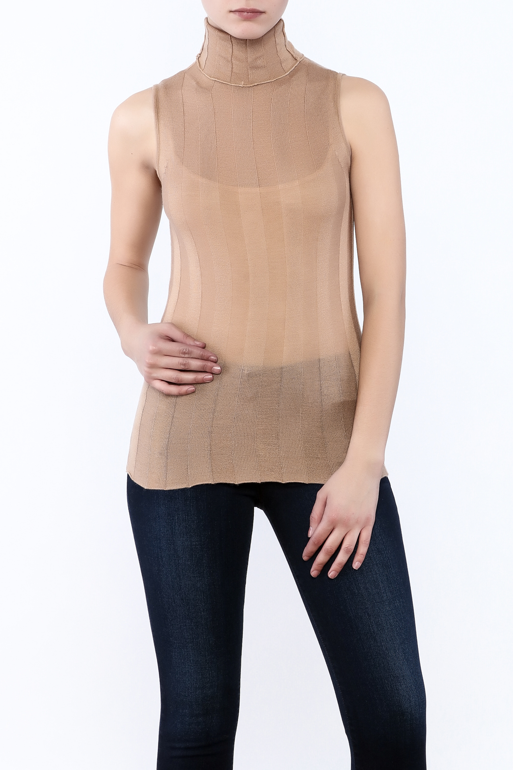 Olivaceous Lightweight Turtleneck Tank - Front Cropped Image