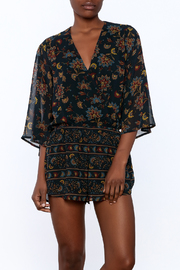Olivaceous Long Sleeve Printed Romper - Product Mini Image