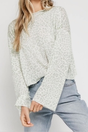 Olivaceous Mint Leopard Cropped Sweater - Product Mini Image